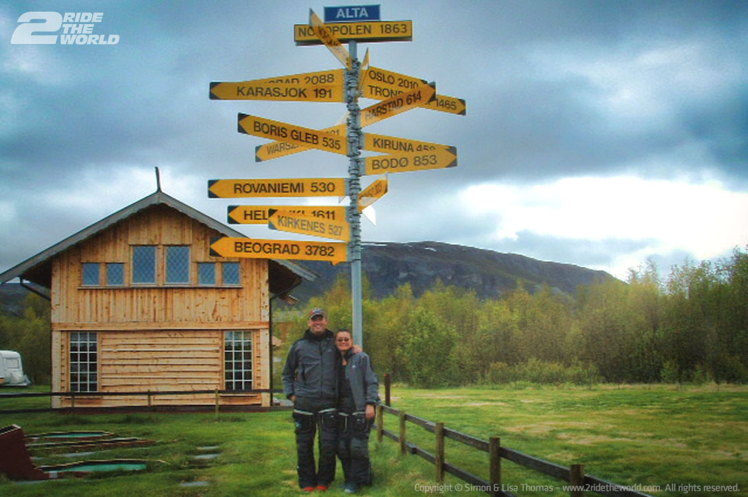 Norway Alta to Hammerfest signpost